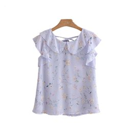 Chinese  women sweet ruffles floral chiffon blouse back bow tie sleeveless shirts ladies summer fashion chic tops blusas manufacturers