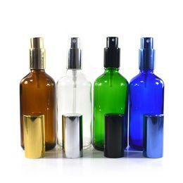 Discount amber glass spray - 200pcs * 100ml Glass Amber Spray Bottle Aluminum Nozzle Fine Mist Spray Bottle Perfume Portable Essential Oil