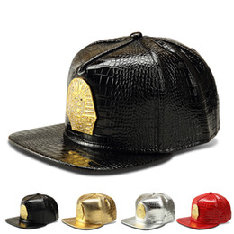 Hat diamond logo online shopping - Luxury Crocodile Grain Pu Leather Hip Hop Hats Snapback Golden Sphinx Logo Diamond DJ Baseball Caps Men Women Breakdancing Sport Caps
