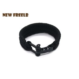 b0360ab9df New Arrival Mens Stainless Steel Shackles Black Leather Bracelet Surf  Nautical Sailor Men Wristband Fashion Jewelry DropShipping