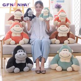 Discount wholesale plush monkeys - 1pc 28 38cm Cute King Kong Plush toy kawaii Monkey Gorilla Dolls Stuffed Toys for Children Kids Birthday Gift