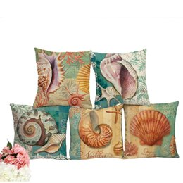Chinese  45cm Linen Blend Marine Sea Shell Pattern Throw Cushion Cover for Couch Capa De Almofada Bedding Ocean Decoration manufacturers