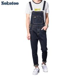 Blue Plus Size Jumpsuit Australia - Sokotoo Men's casual slim pocket denim bib overalls Male suspenders jumpsuits Plus size dark blue jeans for big and tall