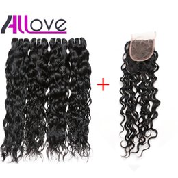 Dark blonDe virgin brazilian hair online shopping - 28inch Water Wave with Lace Closure Malaysian Virgin Hair Wefts Body Wave Brazilian Hair Indian Curly Hair Extensions Deep Loose Wave
