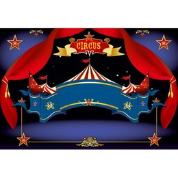 spray tents NZ - Customized Circus Party Backdrop Printed Red Curtains Stars Tent Newborn Baby Shower Props Boy Kids Birthday Photo Background