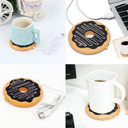 Coffee mug Cup usb online shopping - Newest Creative Giant Donut USB Cup warmer Cute Hot Cookie Mug Warmer Coaster Office Tea Coffee Beverage USB powered Heater Biscuit Tray Pad