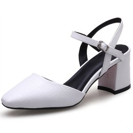 white pointed toe dress casual shoes UK - 2018 top quality pu square toe women pumps simple buckle summer dress shoes big size 33-40 casual high heels shoes