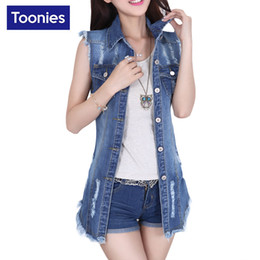 Wholesale summer waistcoats women resale online - New Fashion Summer Long Denim Vest Women Single Breasted Colete Feminino Sleeveless Jeans Vest Women Slim Waistcoat Gilet Femme