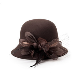 Discount black fedora hats for girls - ZMINORS COTTON FALL WINTER Fedora WINTER hat lady lace hat with LACE FLOWER for WOMEN and girl