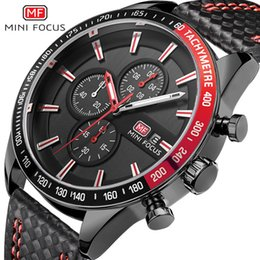 orange face watches men NZ - MINIFOCUS Fashion Men Leather Wrap Watch Unique Luxury Big Face Watch Military Mens Multi-functional Analog Quartz Wristwatches MF0029G