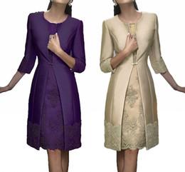 knee length wedding dress jacket 2019 - Elegant Sheath Short Mother Formal Wear With Jacket Evening Satin Lace Party Wedding Guest Dresses Mother Of The Bride D