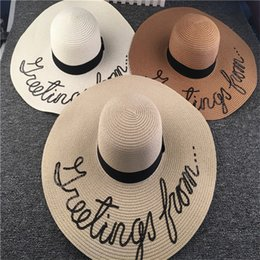 Wide Visor For Women Canada - New Fashion wide brim sunbonnet sun visor hat Summer Straw Sun hat beach for women T2C037