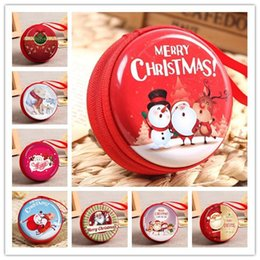 Wholesale 22 Design Round Christmas Change Purse Tinplate Mini Key Holder Coin Purse Wallet Bag Headphone Christmas Gift Decoration Xams Tree Ornament