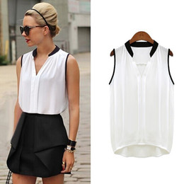 00e48309f5 White Sleeveless Blouse Collar Australia - Sexy Sleeveless Chiffon Women  Blouses Female V Collar Women s Clothing
