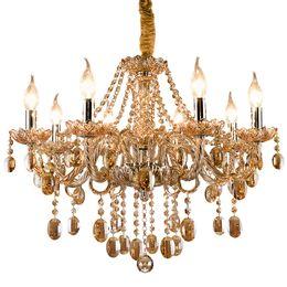 Dining room fabric online shopping - Vintage cognac crystal chandelier lustre retro home lighting chandeliers fabric lampshade living room villa hotel hanging lights