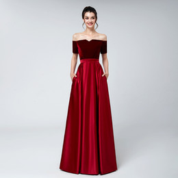 China 2019 Dark red velvet evening dresses plus size satin A line short sleeves arabic formal evening prom party gowns wear supplier arabic red carpet suppliers