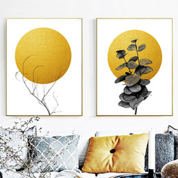 $enCountryForm.capitalKeyWord NZ - Wall Art Canvas Prints Golden Moon Branch Nordic Abstract Posters And Prints Canvas Paintings For Living Room Wall Pictures Home