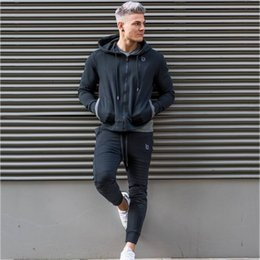 gym jogging suit men Canada - Sport Suit Men Jogging Running Gym Clothing Sweatshirt Male Fitness Bodybuilding Sportswear Mens Hoodied+Pants Jogger Top Sports