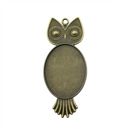 Blank Necklace Base UK - 5 Pieces Cabochon Cameo Base Tray Bezel Blank Jewelry Materials Owl Single Side One Hanging Inner Size 30x40mm Oval Necklace Pendant Setting