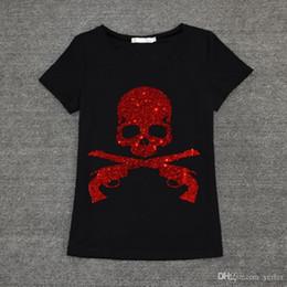 a5b8babd7d517 Original design Rhinestones Skull Print Fashion 2016 Summer Casual Ton Women  t-shirt Short Sleeve O Neck Tops Tee Plus Size 3XL