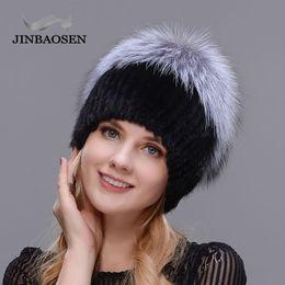 8c3d0a35f2044 JINBAOSEN 2018 Women s winter hat real silver fox fur warm ski cap natural  fur knit cap brand fashion Russian style
