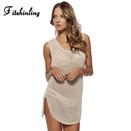$enCountryForm.capitalKeyWord NZ - Fitshinling Hollow out summer sundresses for women curved hem sexy hot beach dress swimsuit output sleeveless mini pareos sale