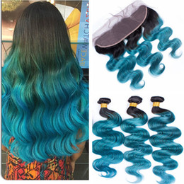 teal ombre hair NZ - Teal Green Ombre Brazilian Human Hair 3Bundles with Lace Frontal Dark Root 1B Green Ombre 13x4 Lace Frontal Closure with Virgin Hair Weaves