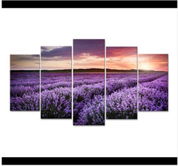 $enCountryForm.capitalKeyWord UK - Free shipping 5 Pieces Provence Lavender Field Modular Flower Oil Canvas Painting Pictures Wall Living Room HD Print Painting
