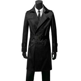 1fdd6ed85b98f Double-breasted mens trench coats belt man long coat men clothes slim fit overcoat  long sleeve black blue khaki brown autumn