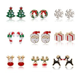 $enCountryForm.capitalKeyWord NZ - Christmas Tree Rhinestone Stud Earrings Cartoon Bells Elk Gift Earrings Girls Aolly Plated Ear Studs Fashion Jewelry Accessories Wholesale