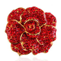 red jewelry for wedding UK - Bridal Rose Flower Brooch Pin Red Rhinestone Crystal Wedding Broach For Woman Jewelry