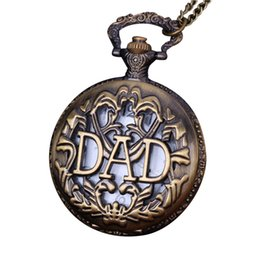antique copper pocket watches 2019 - Shape DAD Vintage Chain Retro The Greatest Pocket Watch Necklace For Grandpa Dad Gifts Bronze copper steel dropshipping