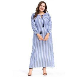 $enCountryForm.capitalKeyWord UK - Muslims Striped Printed Malaysia Dubai Loose Casual Long Dress Party Robes Islamic Clothing Midi Skirt Cocktail Gown for Laides Girls