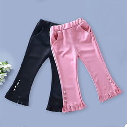 girls pearl pants NZ - Kids Baby Girls Tassel Pants Leggings Autumn Children Clothing Solid Color Bell-Bottom Pants Casual Kids pearl embroidery Flare Trousers