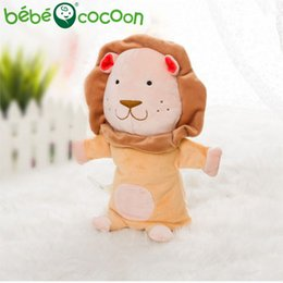 cute puppets UK - bebecocoon NEW Unisex Child Kids Cute Plush Velour Lovely Lion Animals Hand Puppets Chic Designs Learning Aid Toys Dolls