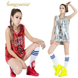Discount red black hip hop costumes - SONGYUEXIA Woman Ds performance wear hiphop hip-hop jazz modern dance Costume bull paillette plus size vest singer stage