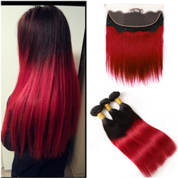 Red Human Hair Bundles Lace Frontal Australia - Straight #1B Red Ombre Ear to Ear Lace Frontal Closure 13x4 with 3 Bundle Deals Virgin Brazilian Ombre Red Human Hair Weave Bundles