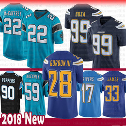 Carolina 22 Christian McCaffrey Panthers 59 Luke Kuechly Jersey 28 Melvin  Gordon Peppers Chargers Philip Rivers 99 Joey Bosa 33 Derwin James 2e1688575