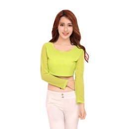 52fdb9e6adec40 H34 Sexy Women See-through Mesh Crop Tops Long Sleeve Tee T-Shirt Candy  Color