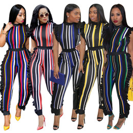 $enCountryForm.capitalKeyWord NZ - 5 Colors In Stock 2018 New Striped Fashion Women Jumpsiuts with High Neck Ruffles Cap Sleeves Long Rompers Pant Trousers Plus size 3XL