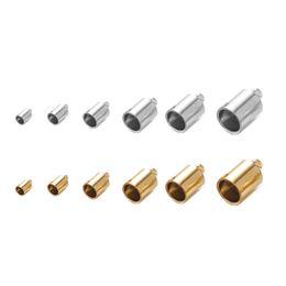 6 размеры золото серебро веревка цепи шнур обжимной конец из нержавеющей стали ковш шнур обжимной конец крышки крепежные детали для ювелирных изделий DIY изготовление аксессуаров