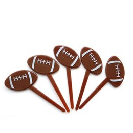 Wholesale Plastic Rugby Cake Card Picks Topper Boy Child Happy Birthday Party Cupcake Toppers Decoration Fruit Fork Dessert Baking Supplies xd bb