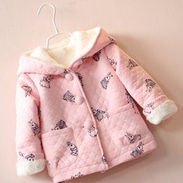 Cartoon Rabbit Hoodies Australia - BibiCola autumn winter children cartoon rabbit pink clothing baby girls jacket coat thick cute hoodies jacket kid outerwear