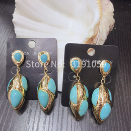 Blue copper turquoise earrings online shopping - New fashion simple personality earrings natural pine earrings crack long style cold wind pendant earrings women