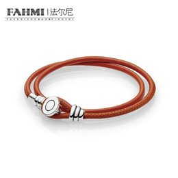 China FAHMI 100% 925 Sterling Silver 597194CSO-D-1 MOMENTS Spicy Orange Double Leather Bracelet with Button Clasp Original Women's suppliers