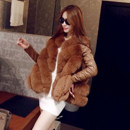 Wholesale women s brown leather vests resale online - Faux Fur Vest Women Fake Fur Coats Long Winter Coat Long Sleeve F0376 Patchwork Fur with PU Leather S XL Oversized Irregular