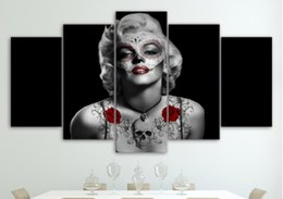 Discount free marilyn monroe paintings HD Printed Marilyn Monroe Tattoo Red Rose Painting Canvas Print room decor print poster picture canvas Free shipping