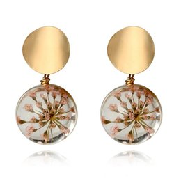 Discount small metal plates - 2018 Japan and South Korea small fresh glass ball starry earrings for Women temperament metal sequin petals personality