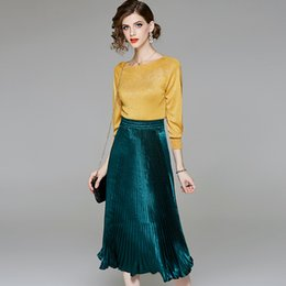Quarter Suits Australia - three quarter sleeve loose elastic knit shirts and pleated skirts 2 piece skirts suits 2018 new women autumn suits