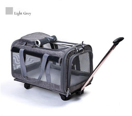 Dog Cars Australia - Portable Pet Trolley Travel Box Dog Out Bags Cat Puppy Remove Backpack Detachable Four Wheels Trolley Backpack Car Bag MMA1087 5pcs